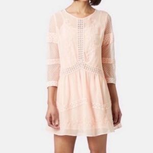 Topshop Blush Lace Detail Boho Long Sleeve Dress